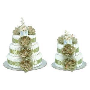 Sage flower diaper cake