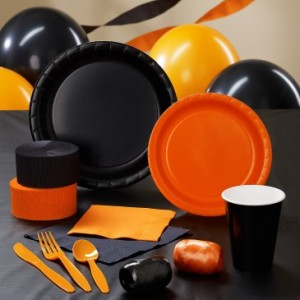 black and orange Hunger Games partyware