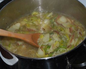 Making Leek and potato soup