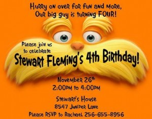 lorax invitations