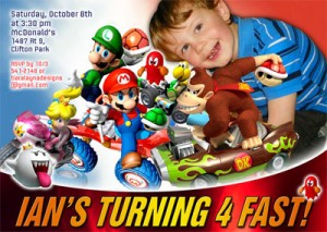 mario kart custom invitations