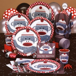sock monkey party supplies