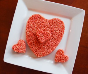 Rice crispy heart-shaped treats