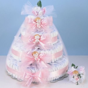4-Layer diaper cake with mommy corsage