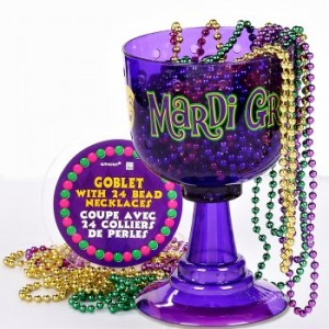 Mardi Gras beads with cup