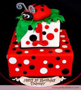 ladybug 1st birthday cake