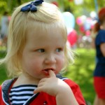 Little girl at a July 4th parade