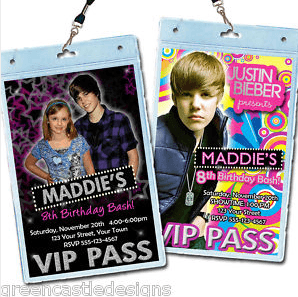 Justin Bieber VIP party invitations