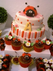 ladybug party cake and cupcakes