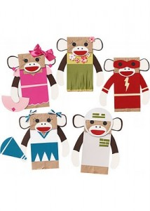 sock monkey puppets party craft